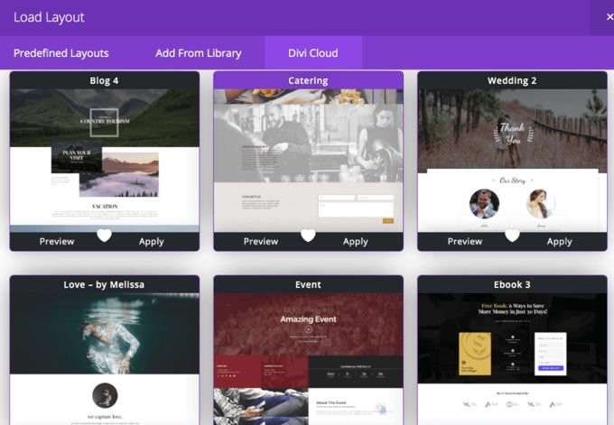 Divi fertige homepage lay-outs