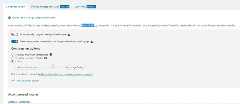 WP-Optimize Bilder komprimieren