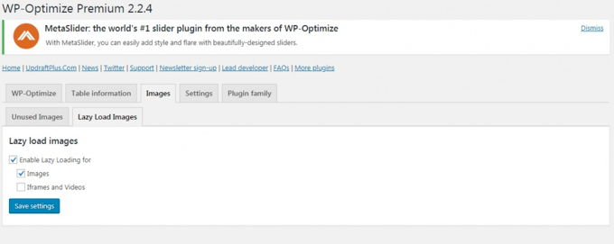 WP-Optimize lazy load