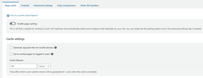 WP-Optimize Review page cache