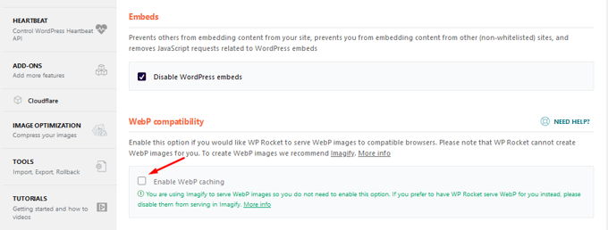 WP-Rocket Review WebP Bilder