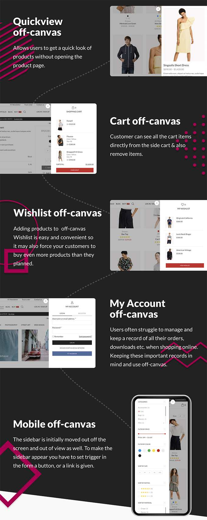 X-Store Theme Review Woocommerce Off-Canvas-Funktionen